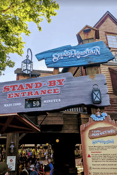 wait time for Splash Mountain showing 50 minutes